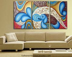 Hand painted 3 piece art canvas Color gorgeous mechanism Abstract landscape Wall home Decor Oil Painting on canvas-in Painting & Callig. Paintings I Love, Beautiful Paintings, Oil Paintings, 3 Piece Art, Oil Painting Supplies, Bedroom Design Inspiration, Arte Popular, Panel Art, Western Decor