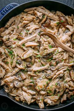 This Leftover Turkey recipe is by far my favorite way to use up leftover turkey! Turkey in creamy mushroom sauce is so easy and a big win in our family! | natashaskitchen.com