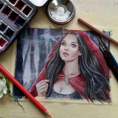 Something new in progress  #painting #illustration #mixedmedia #watercolorpainting #wip #drawing #artistoninstagram #jannafairyart #redridinghood #fantasyart #fairytale