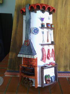 TEJAS DECORADAS   papeldecesta Clay Houses, Ceramic Houses, Miniature Houses, Clay Pot Crafts, Diy And Crafts, Arts And Crafts, Smurf House, Decoupage, Small Canvas Art