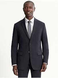 Tailored navy Italian wool two-button suit blazer