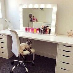 Hollywood Mirror Ikea, Hollywood Mirror With Lights, Lights Around Mirror, Makeup Mirror With Lights, Lighted Vanity Mirror, Makeup Vanity Mirror, Vanity With Mirror, Makeup Dresser, White Vanity