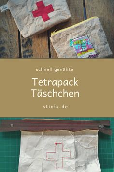 Kleine Tasche aus Tetra Pack-nähen- upcycling Small bag made of Tetra Pack sewing upcycling Small ba Upcycled Crafts, Diy And Crafts, Diy Wallet Purse, Clutch Bag, Sewing Projects For Kids, Crafty Projects, Diy For Teens, Diy For Kids, Tetra Pack