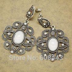 1.17€ - ER388 Antique Silver Bohemia Flower Retro Vintage Earrings For Women Lady 2015 - Mistery co.,ltd