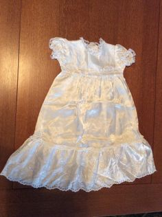 Vintage Baby Clothing Dress Gown Satin Christening Baptism Childrens White Long Lace Eyelet Special Occasion by aflashbackintime on Etsy
