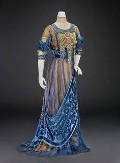 1912, America Evening dress by Girolamo Giuseffi Silk satin, silk velvet, silk chiffon, silk net, pearls, rhinestones, sequins  Indianapolis Museum of Ar