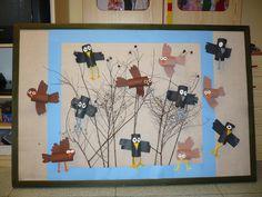 Ptáčci Projects For Kids, Art Projects, Winter Art, Art Activities, Art School, Diy And Crafts, Kindergarten, Bird, Wallpaper