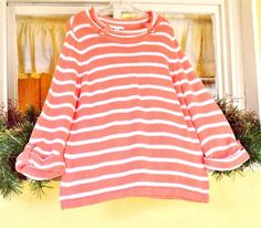 CJ Banks X(14 W) Plus Boat Neck Sweater Coral White Stripes 3/4 Sleeve Buttons #CJBanks #BoatNeck #Casual