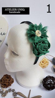 Accesorios para el pelo, complementos, diademas de flores verdes, flores de tela, diademas niña, tiaras, cinta de pelo, pinza para el pelo Esta vez les presentamos dos diademas en dos tonos de verde. Se pueden aplicar en pinza para el pelo, en cinta de pelo para bebe. 1 - Diadema verde