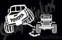 Toyota Peeing On Jeep Sticker Decal - Tundra Tacoma 4Runner FJ ...