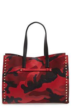 Valentino  Rockstud Camo  Canvas   Nappa Leather Tote  e176e81184a89