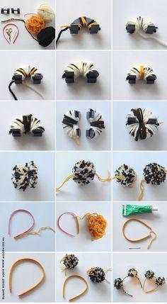 Roarrrrr…. DIY tijger haarband met pompoms - Moodkids Diy Crafts For Tweens, Craft Projects For Adults, Sewing Projects For Kids, Yarn Projects, Diy Craft Projects, Crochet Projects, Pom Pom Crafts, Yarn Crafts, Crochet Ball