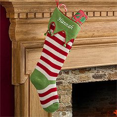Make your home more festive this Christmas with the Personalized Christmas Stockings - Knit Red Stripes. Find the best personalized Christmas gifts at PersonalizationMall.com