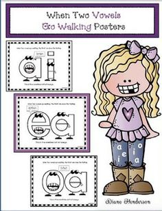 These posters are part of my 137- page jumbo Vowel Villains & When 2 Vowels Go Walking packet. Click on the link to take a look. My students absolutely LOVE this word-work technique. I'm Diane from Teach With Me. I hope you find the posters helpful.