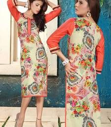 Buy Fab Cotton Printed Beige & Pink coloured Casual Designer Stitched Kurtis long-kurti online