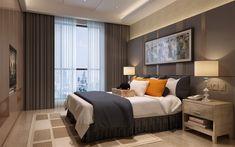 壁紙をダウンロードする 近代デザインベッドルーム, デザイナーズシェアハウス, グレーのベッドルーム, 大きめのベッド, グリーンカーテン, モダンなインテリア