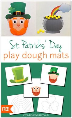 These St. Patrick's Day Play Dough Mats are a great tool for developing kids' fine motor skills as well as for engaging in sensory-rich, creative play. St Patrick Day Activities, Spring Activities, Activities For Kids, St Patrick's Day Crafts, Crafts For Kids, Playdough Activities, Play Dough, Holidays With Kids, Sensory Play