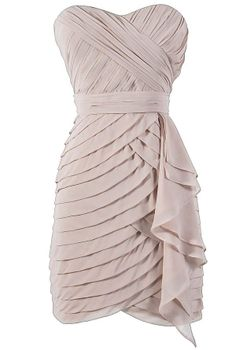 Tiered Strapless Chiffon Designer Dress by Minuet in Champagne. This website has lots of inexpensive dresses. Vestido Dress, Chiffon Dress, Strapless Dress, Celebrity Outfits, Celebrity Clothing, Teen Clothing, Clothing Styles, Pretty Dresses, Beautiful Dresses