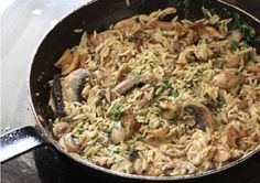 mushroom risoniotto - i added dried chili flakes and it was perfect.