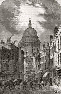 "St Martin's-Le-Grand, 1760 in Walter Thornbury's ""A Walk In Long Forgotten London"" via Spitalfields Life Victorian London, Vintage London, Old London, London Art, London Photos, London Street, East London, 19th Century London, 18th Century"