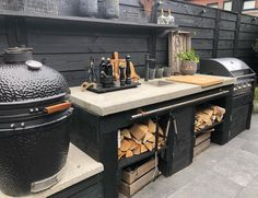 Small Outdoor Kitchens, Outdoor Kitchen Plans, Outdoor Sinks, Outdoor Kitchen Design, Outdoor Cooking, Outdoor Rooms, Parrilla Exterior, Backyard Fireplace, Backyard Furniture