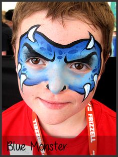 blue monster face painting by mimicks - Faces - Kinder Dinosaur Face Painting, Monster Face Painting, Face Painting For Boys, Face Painting Designs, Christmas Face Painting, Boy Face, Kids Makeup, Belly Painting, Street Dance