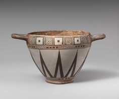 Skyphos (drinking cup), 6th century b.c. Greek, Lydian Terracotta