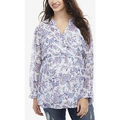 Motherhood Maternity Floral-Print Blouse ($45) ❤ liked on Polyvore featuring plus size women's fashion, plus size clothing, plus size tops, plus size blouses, blue floral, blue top, motherhood maternity, floral print blouse, flower print tops and floral print tops