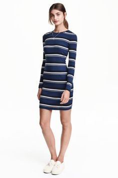 Ribbed jersey dress: Short, fitted dress in ribbed jersey with long sleeves.