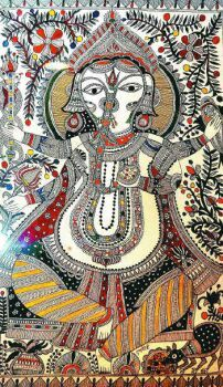 Mithila's pride - in the Kanchi style. Interesting article on this site about the different styles of Mithila/Madhubani painting as well as other informatiion.