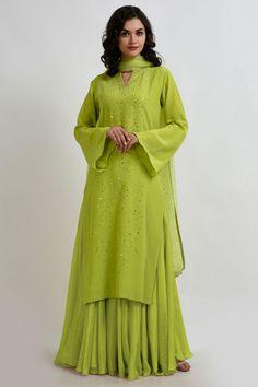 Lime Punch Sequin Hand Embroidered Outfit with Dupatta Designer Dress For Men, Indian Designer Outfits, Designer Dresses, Patiala Salwar, Shalwar Kameez, Trendy Dresses, Fashion Dresses, Women's Fashion, Green Suit Women