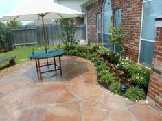flagstone patio, red stone