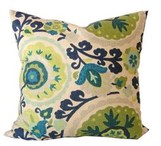 "SALE / Mediterranean Pillow Cover / 18"" x 18"" / Aquamarine / Decorative Pillow /"