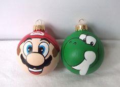 Super Mario Yoshi Hand Painted Ornament Set Nintendo NES.