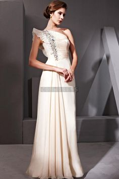 Long Tencel Rhinestones Beige Ruffles Evening Dress