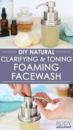This DIY all-natural foaming facial cleanser includes ingredients that help clar. - - This DIY all-natural foaming facial cleanser includes ingredients that help clarify and tone the skin, as well as ingredients that are extra-gentle an. Homemade Skin Care, Diy Skin Care, Skin Care Tips, Homemade Face Wash, Homemade Beauty, Homemade Face Cleanser, Natural Acne Remedies, Skin Care Remedies, Herbal Remedies