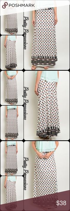 "NWT Boho Border Print Maxi Skirt NWT Boho Border Print Maxi Skirt   Available in sizes S, M, L Measurements taken from a size small  Length: 39"" Waist: 32"" ** Measurements taken unstretched **  Features • soft material  • has stretch; accommodating fit • pretty border print on bottom hem • all over printed design  • relaxed, easy fit   Made in the USA  Bundle discounts available  No pp or trades  Item # 1/2JC103280380BPM printed vintage inspired boho stretchy maxi skirt Pretty Persuasions…"