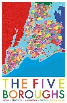 """Five Boroughs of NYC Hand Drawn Color Map 11"""" x 17"""""""