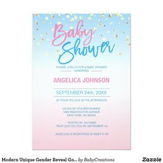 Modern Unique Gender Reveal Gold Baby Shower Party