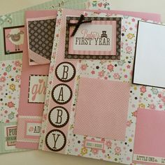 Items similar to 20 premade baby girl scrapbook pages 12 by 12 newborn baby girl scrapbook album gift for baby girl on Etsy Baby Girl Scrapbook, Baby Scrapbook Pages, Handmade Scrapbook, Birthday Scrapbook, Scrapbook Page Layouts, Anniversary Scrapbook, Scrapbook Designs, Paper Bag Scrapbook, Album Scrapbook