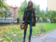 Mixed plaids, olive, navy, denim + black ankle boots.
