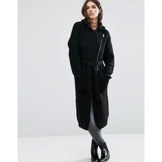 Diesel Asymmetric Zip Wrap Coat (1,200 ILS) ❤ liked on Polyvore featuring outerwear, coats, black, diesel coats, asymmetrical zip coat, wrap coat, waist belts and asymmetrical zipper coat