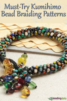 If you like braiding, you'll LOVE these FREE kumihimo braiding patterns from the experts at Beading Daily. Start braiding with beads today and create beautiful beaded jewelry! #beading #kumihimo