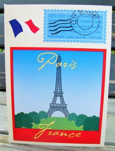 Parisian Journey Handmade Card greeting card by RogueKissedCraft Triomphe, Eiffel, City Lights, Rogues, Parisian, Etsy Store, Muse, Art Projects, Birthday Cards