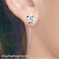 Long stem Plumeria flower earrings sterling silver by RingRingRing