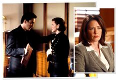 John and Joan Cusack in Grosse Pointe Blank (1997). Right: Ann Cusack in Boston Legal (2007).