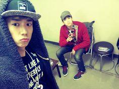 2PM's Wooyoung and Nichkhun snap a selca backstage at their Nagoya concert