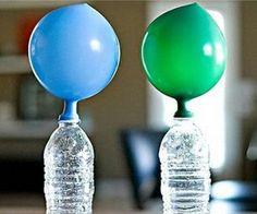 Actividades para Educación Infantil: EXPERIMENTO: inflar un globo sin soplar