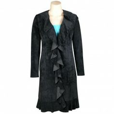 Long Suede Coat with Ruffle - JACKETS & VESTS - LADIES   Pinto Ranch