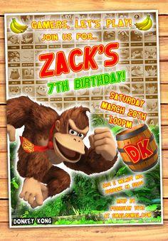 Donkey Kong Birthday Invitation - Nintendo